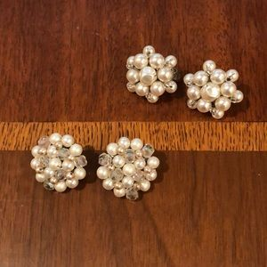 "lot of 2 1950's ""pearl"" earring clip ons"